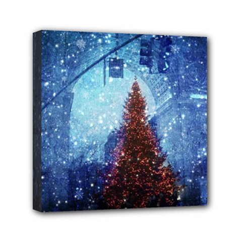 Elegant Winter Snow Flakes Gate Of Victory Paris France Mini Canvas 6  X 6  (framed) by chicelegantboutique