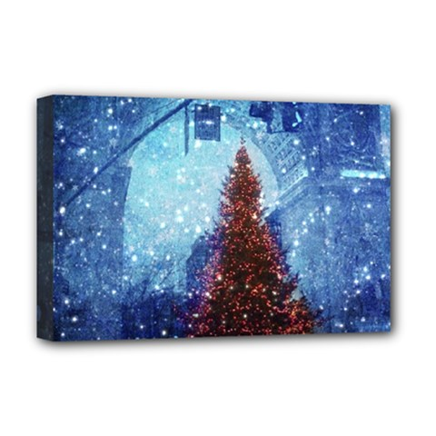 Elegant Winter Snow Flakes Gate Of Victory Paris France Deluxe Canvas 18  X 12  (framed) by chicelegantboutique