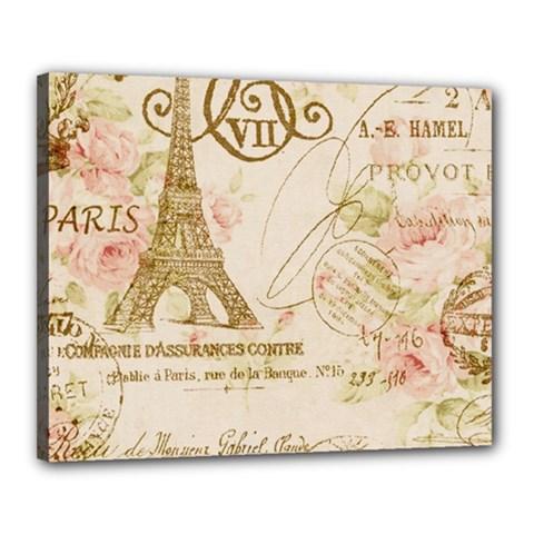 Floral Eiffel Tower Vintage French Paris Art Canvas 20  X 16  (framed) by chicelegantboutique