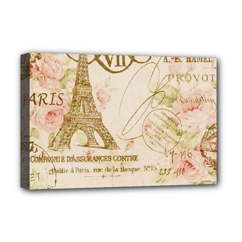 Floral Eiffel Tower Vintage French Paris Art Deluxe Canvas 18  X 12  (framed) by chicelegantboutique