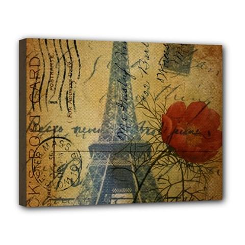 Vintage Stamps Postage Poppy Flower Floral Eiffel Tower Vintage Paris Canvas 14  X 11  (framed) by chicelegantboutique