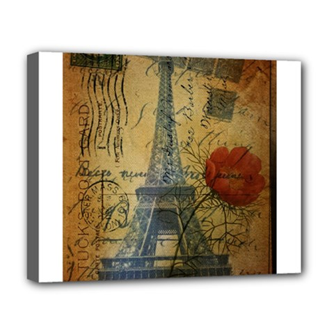 Vintage Stamps Postage Poppy Flower Floral Eiffel Tower Vintage Paris Deluxe Canvas 20  X 16  (framed) by chicelegantboutique