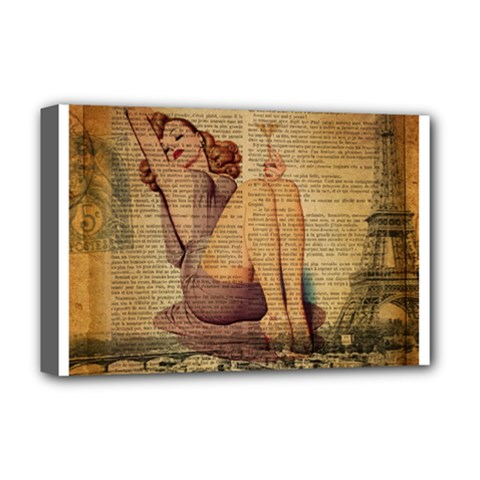 Vintage Newspaper Print Pin Up Girl Paris Eiffel Tower Deluxe Canvas 18  X 12  (framed) by chicelegantboutique