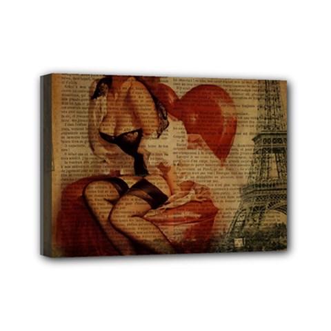 Vintage Newspaper Print Sexy Hot Gil Elvgren Pin Up Girl Paris Eiffel Tower Mini Canvas 7  X 5  (framed) by chicelegantboutique