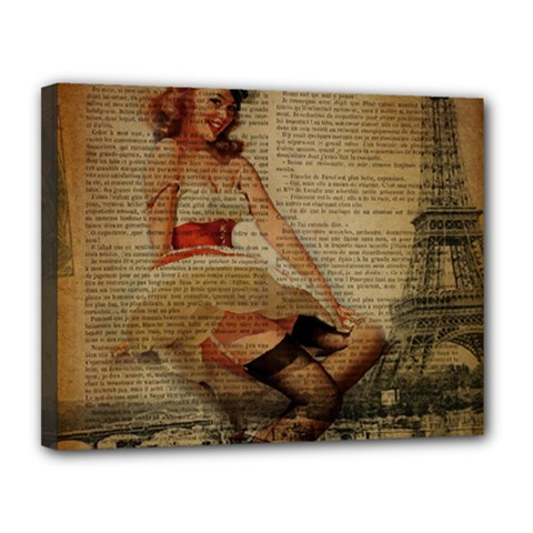 Cute Sweet Sailor Dress Vintage Newspaper Print Sexy Hot Gil Elvgren Pin Up Girl Paris Eiffel Tower Canvas 14  X 11  (framed) by chicelegantboutique