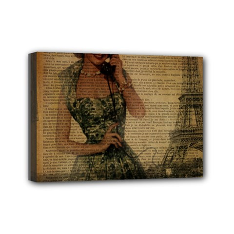 Retro Telephone Lady Vintage Newspaper Print Pin Up Girl Paris Eiffel Tower Mini Canvas 7  X 5  (framed) by chicelegantboutique