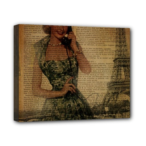 Retro Telephone Lady Vintage Newspaper Print Pin Up Girl Paris Eiffel Tower Canvas 10  X 8  (framed) by chicelegantboutique