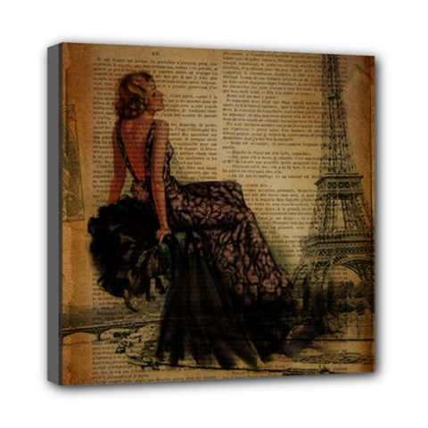 Elegant Evening Gown Lady Vintage Newspaper Print Pin Up Girl Paris Eiffel Tower Mini Canvas 8  X 8  (framed) by chicelegantboutique