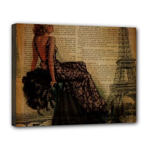Elegant Evening Gown Lady Vintage Newspaper Print Pin Up Girl Paris Eiffel Tower Canvas 14  x 11  (Framed) by chicelegantboutique
