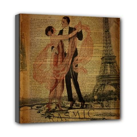 Vintage Paris Eiffel Tower Elegant Dancing Waltz Dance Couple  Mini Canvas 8  X 8  (framed) by chicelegantboutique