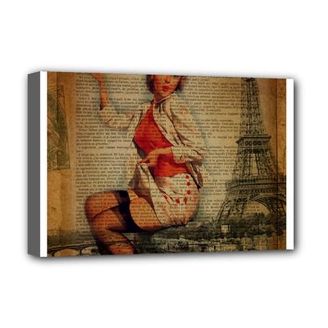 Vintage Newspaper Print Pin Up Girl Paris Eiffel Tower Funny Vintage Retro Nurse  Deluxe Canvas 18  X 12  (framed) by chicelegantboutique