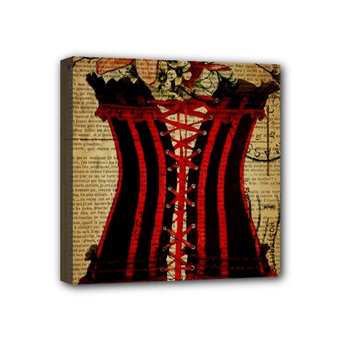Black Red Corset Vintage Lily Floral Shabby Chic French Art Mini Canvas 4  X 4  (framed) by chicelegantboutique