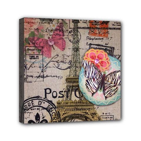Floral Scripts Butterfly Eiffel Tower Vintage Paris Fashion Mini Canvas 6  X 6  (framed) by chicelegantboutique