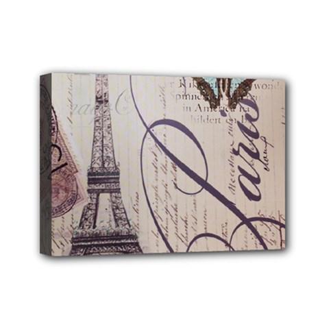 Vintage Scripts Floral Scripts Butterfly Eiffel Tower Vintage Paris Fashion Mini Canvas 7  X 5  (framed) by chicelegantboutique