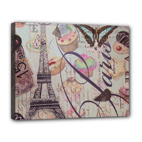 French Pastry Vintage Scripts Floral Scripts Butterfly Eiffel Tower Vintage Paris Fashion Canvas 14  X 11  (framed) by chicelegantboutique