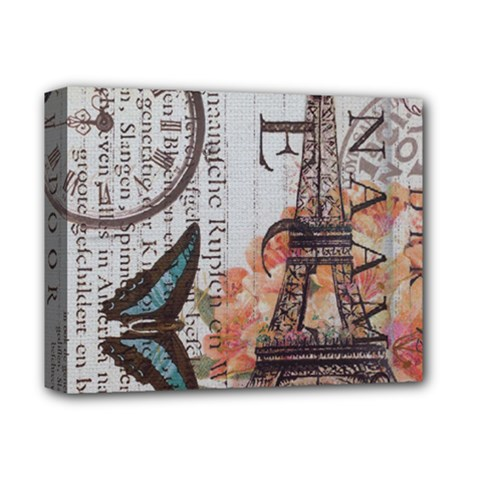 Vintage Clock Blue Butterfly Paris Eiffel Tower Fashion Deluxe Canvas 14  X 11  (framed) by chicelegantboutique