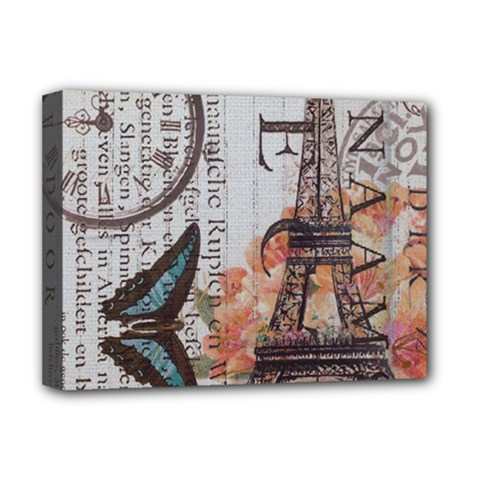 Vintage Clock Blue Butterfly Paris Eiffel Tower Fashion Deluxe Canvas 16  X 12  (framed)  by chicelegantboutique