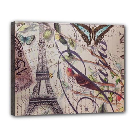 Paris Eiffel Tower Vintage Bird Butterfly French Botanical Art Canvas 14  X 11  (framed) by chicelegantboutique