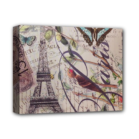 Paris Eiffel Tower Vintage Bird Butterfly French Botanical Art Deluxe Canvas 14  X 11  (framed) by chicelegantboutique