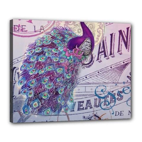 French Scripts  Purple Peacock Floral Paris Decor Canvas 20  X 16  (framed) by chicelegantboutique