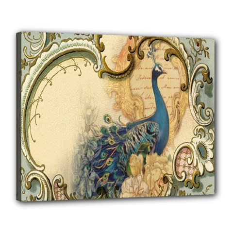 Victorian Swirls Peacock Floral Paris Decor Canvas 20  X 16  (framed) by chicelegantboutique