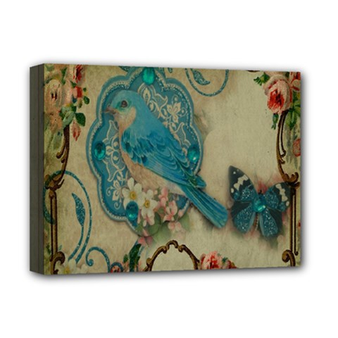 Victorian Girly Blue Bird Vintage Damask Floral Paris Eiffel Tower Deluxe Canvas 16  X 12  (framed)  by chicelegantboutique