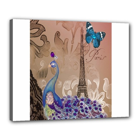 Modern Butterfly  Floral Paris Eiffel Tower Decor Canvas 20  X 16  (framed) by chicelegantboutique