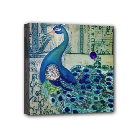 French Scripts Vintage Peacock Floral Paris Decor Mini Canvas 4  X 4  (framed) by chicelegantboutique