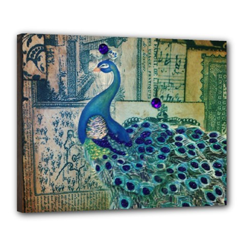 French Scripts Vintage Peacock Floral Paris Decor Canvas 20  X 16  (framed) by chicelegantboutique