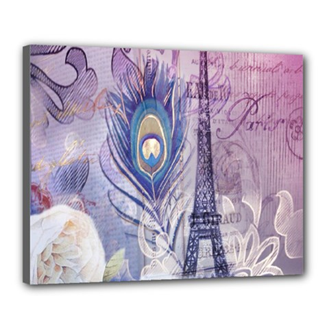 Peacock Feather White Rose Paris Eiffel Tower Canvas 20  X 16  (framed) by chicelegantboutique