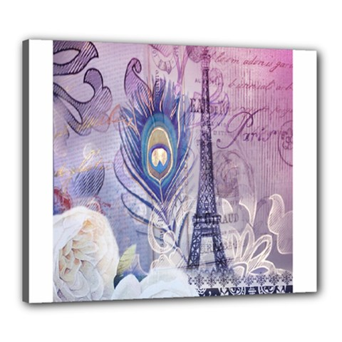 Peacock Feather White Rose Paris Eiffel Tower Canvas 24  X 20  (framed) by chicelegantboutique
