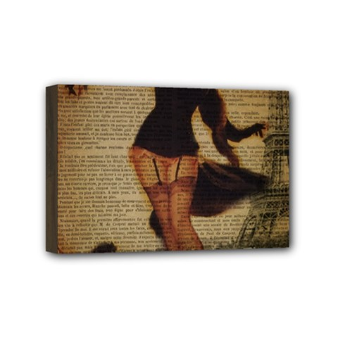 Paris Lady And French Poodle Vintage Newspaper Print Sexy Hot Gil Elvgren Pin Up Girl Paris Eiffel T Mini Canvas 6  X 4  (framed) by chicelegantboutique