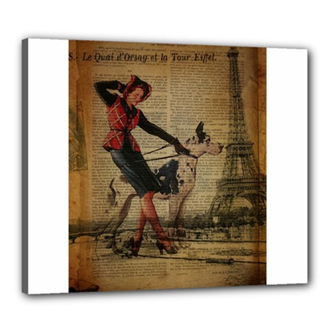 Paris Girl And Great Dane Vintage Newspaper Print Sexy Hot Gil Elvgren Pin Up Girl Paris Eiffel Towe Canvas 24  X 20  (framed) by chicelegantboutique