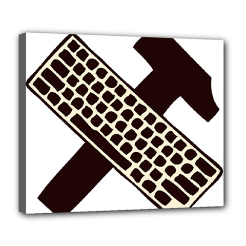 Hammer And Keyboard  Deluxe Canvas 24  X 20  (framed) by youshidesign