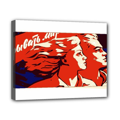 Communist Propaganda He And She  Canvas 10  X 8  (framed) by youshidesign