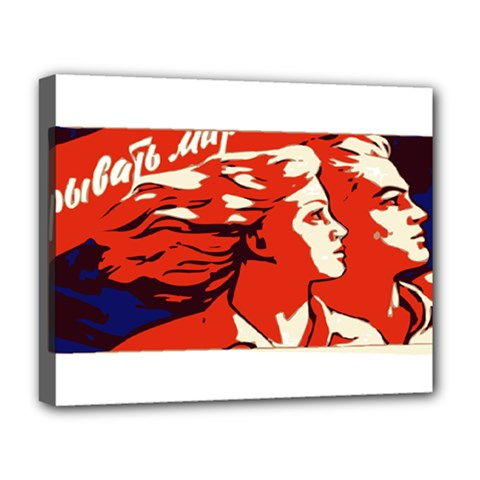 Communist Propaganda He And She  Deluxe Canvas 20  X 16  (framed) by youshidesign