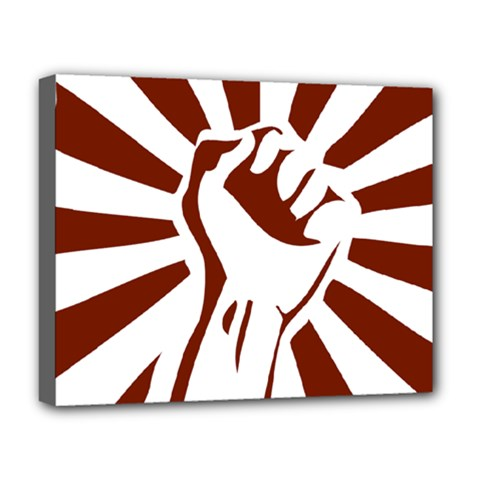 Fist Power Deluxe Canvas 20  X 16  (framed) by youshidesign