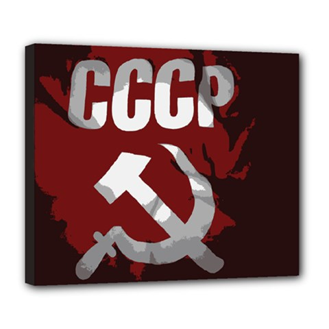 Cccp Soviet Union Flag Deluxe Canvas 24  X 20  (stretched) by youshidesign