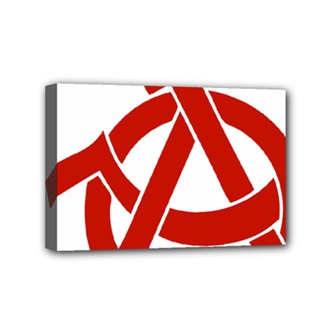 Hammer Sickle Anarchy Mini Canvas 6  X 4  (framed) by youshidesign