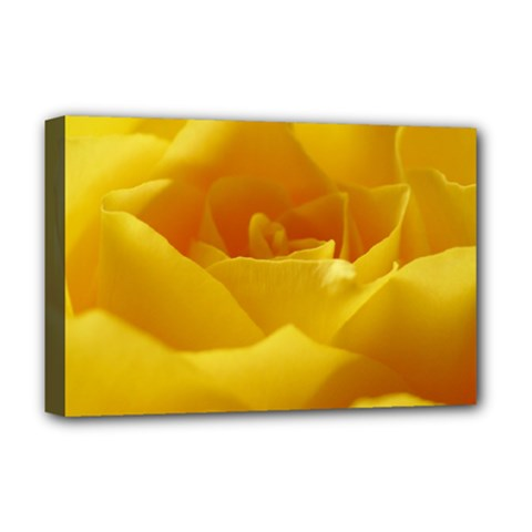 Yellow Rose Deluxe Canvas 18  X 12  (framed) by Siebenhuehner