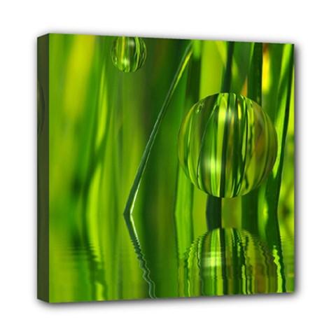 Green Bubbles  Mini Canvas 8  X 8  (framed) by Siebenhuehner