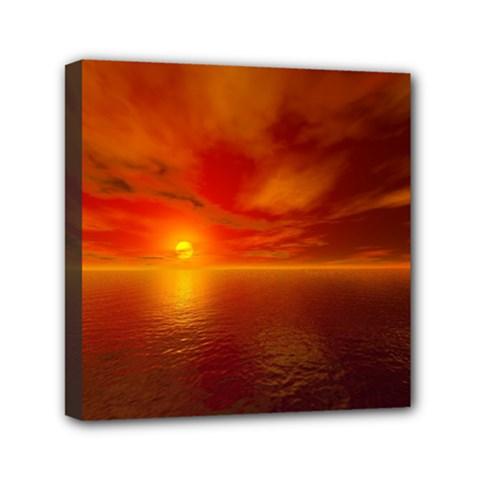 Sunset Mini Canvas 6  X 6  (framed) by Siebenhuehner