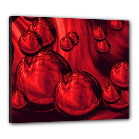 Red Bubbles Canvas 24  X 20  (framed) by Siebenhuehner
