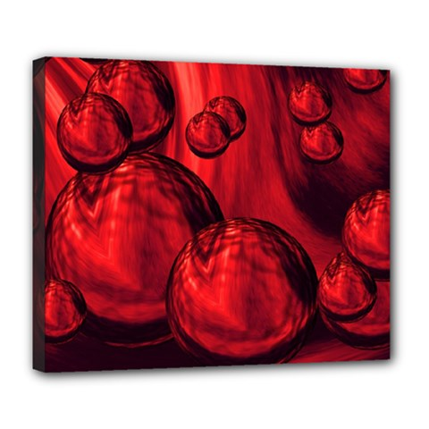 Red Bubbles Deluxe Canvas 24  X 20  (framed) by Siebenhuehner