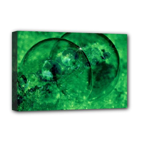 Green Bubbles Deluxe Canvas 18  X 12  (framed) by Siebenhuehner