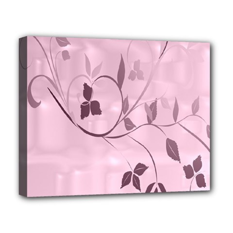 Floral Purple Deluxe Canvas 20  X 16  (framed) by uniquedesignsbycassie