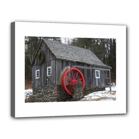 Vermont Christmas Barn Canvas 14  X 11  (framed) by plainandsimple