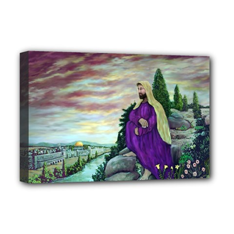 Jesus Overlooking Jerusalem - Ave Hurley - ArtRave - Deluxe Canvas 18  x 12  (Framed) by ArtRave2