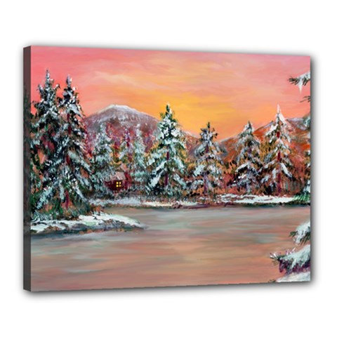 jane s Winter Sunset   By Ave Hurley Of Artrevu   Canvas 20  X 16  (stretched) by ArtRave2
