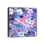 Spring Flowers Blue Mini Canvas 4  x 4  (Framed)